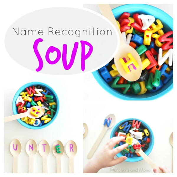 Name Recognition Soup- a fun activity for preschoolers to learn the letters of their name!