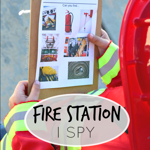 Fire Sation I SPY - a free printable for preschoolers. Perfect for community helpers theme and fire safety week!