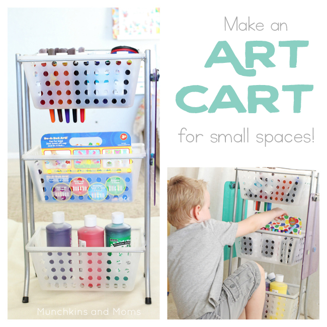 Create an Art Cart to store art supplies in a small space!