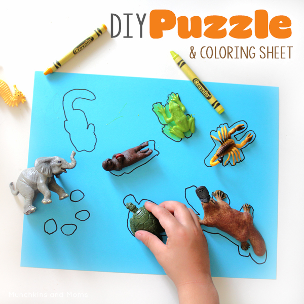 Make a simple puzzle for preschoolers and toddlers using animal toys! When kids are done with the puzzle, they have a simple coloring sheet to do as well.