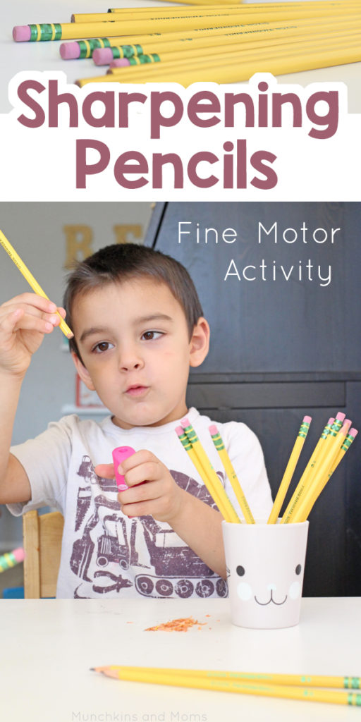 Sharpening pencils used to be the coolest job in the class! Give preschoolers a chance to sharpen pencils to work on their fine motor skills.