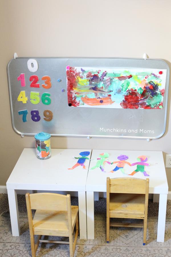 Magnetic drip pan hack! Get idea for a playroom or homeschool room!