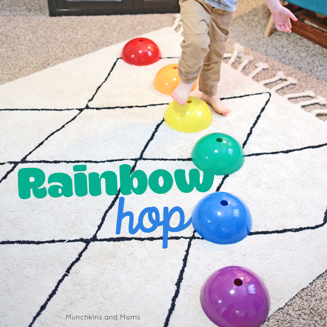 Make a gross motor rainbow game for preschoolers
