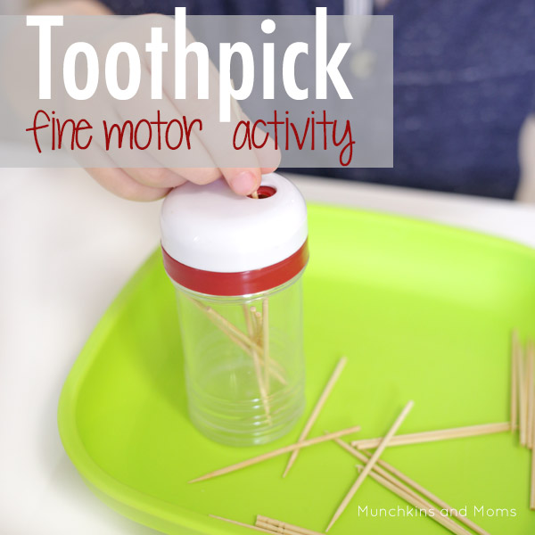 Toothpick fine motor activity- this is a great idea when I'm cooking dinner and need to get the kids to focus on something productive!