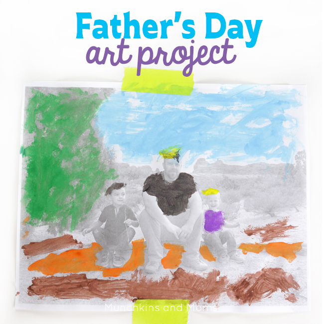 DIY Father's Day gift idea~ Let kids paint a picture of them with their daddy for a perfect gift from kids of any age!