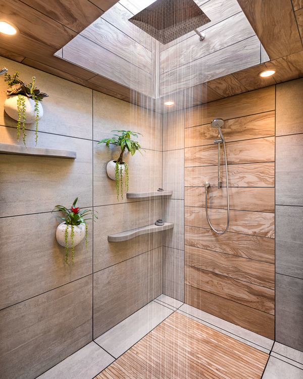 Rain shower zen bathroom