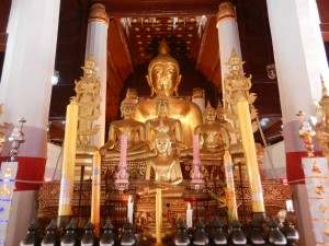 The main altar in Wat Phra That Chae Haeng, Nan, Thailand
