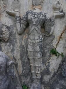 Thai sculpture on Wat Chedi Si Hong, Sukhothai, Thailand.