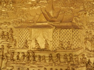 The sim facade in Wat Mai, Luang Prabang, Laos