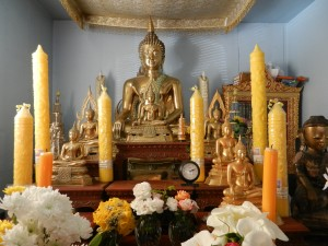 The altar in a Laotian temple in California.