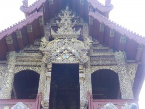 The entrance of the ho trai in Wat Phra Singh, Chiang Mai, Thailand.
