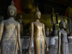 Laotian style Buddhas in Luang Prabang's Wat Visoun.