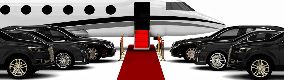 High class red carpet travel fleet  / 3D render image representing a high class travel fleet with an red carpet and a private jet