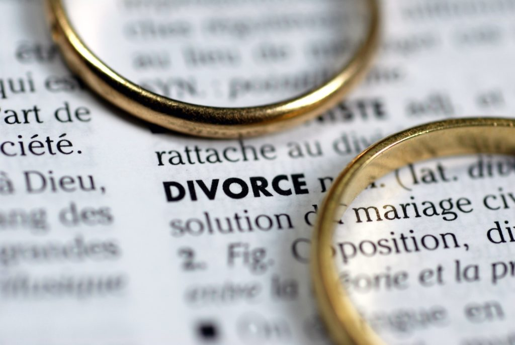 Two rings on top of textbook definition of divorce