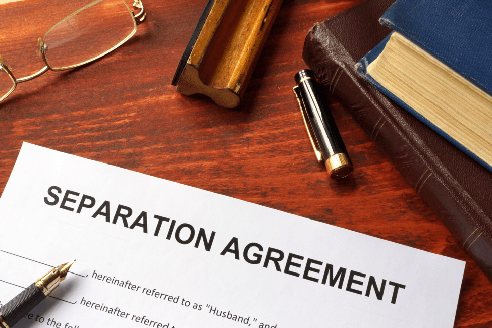 Separation agreement on a table