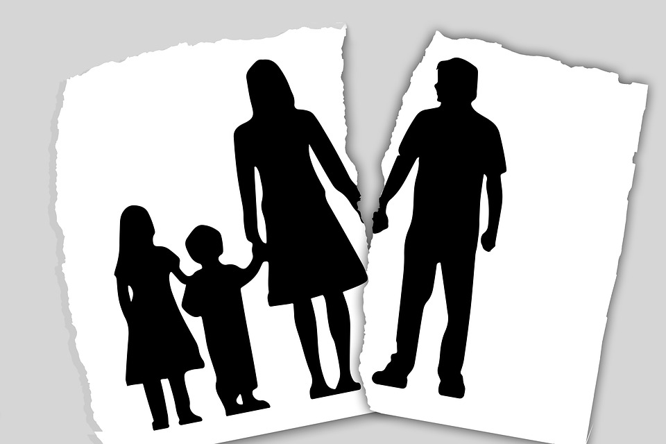 illustration of a torn family picture