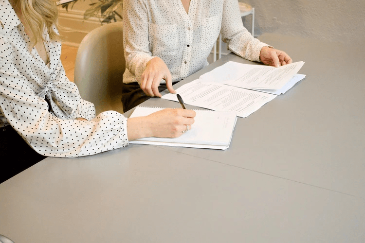A lawyer assisting a client