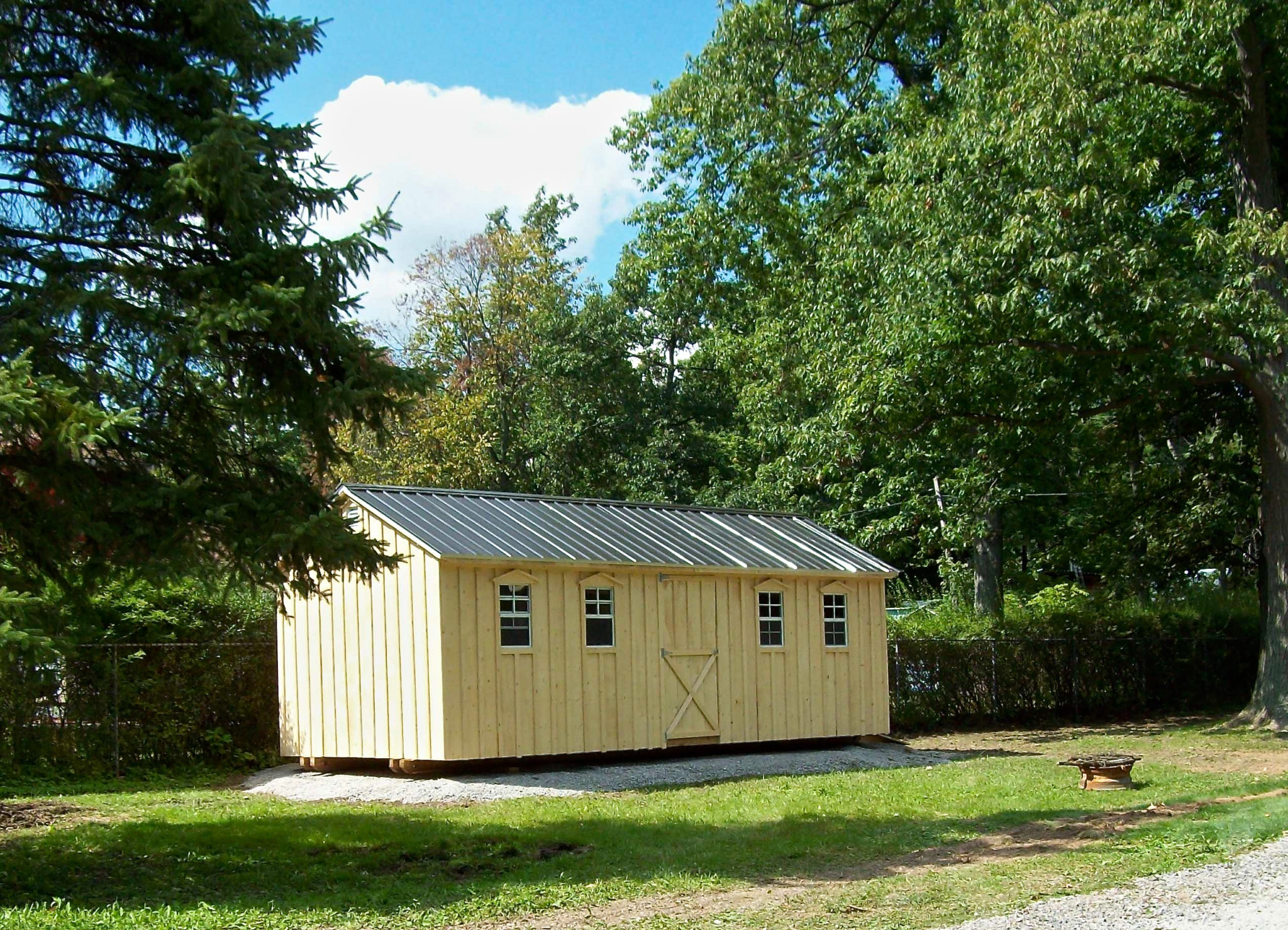 Amish Shed With Green Roof and a double door