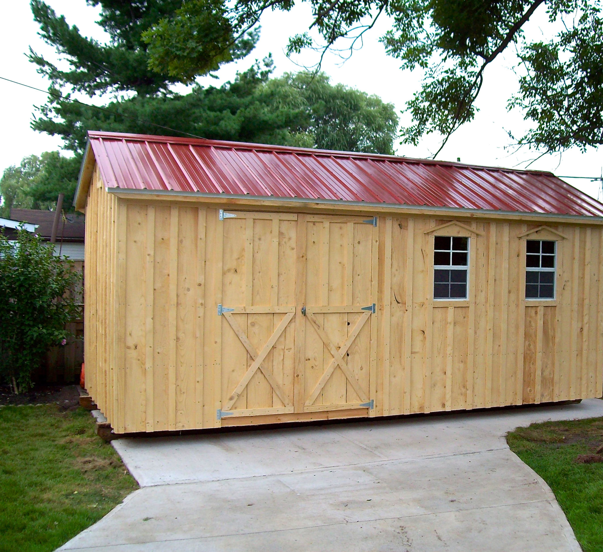 Amish Shed with red roof and double doors