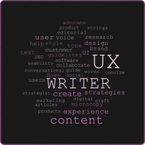 image of a UX Writer word cloud