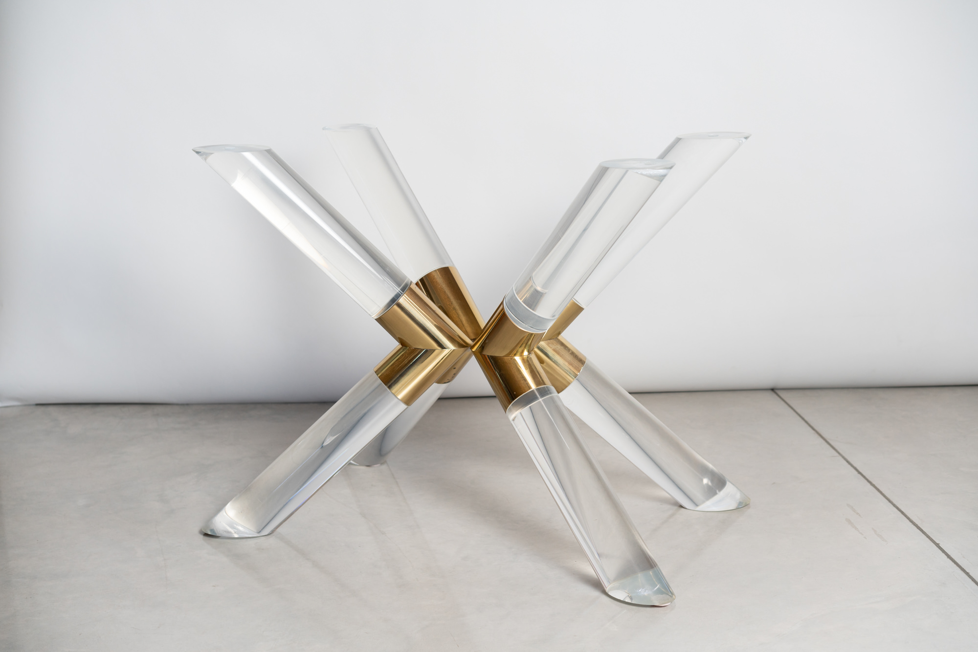 CHJ Lucite and Brass Dining Table