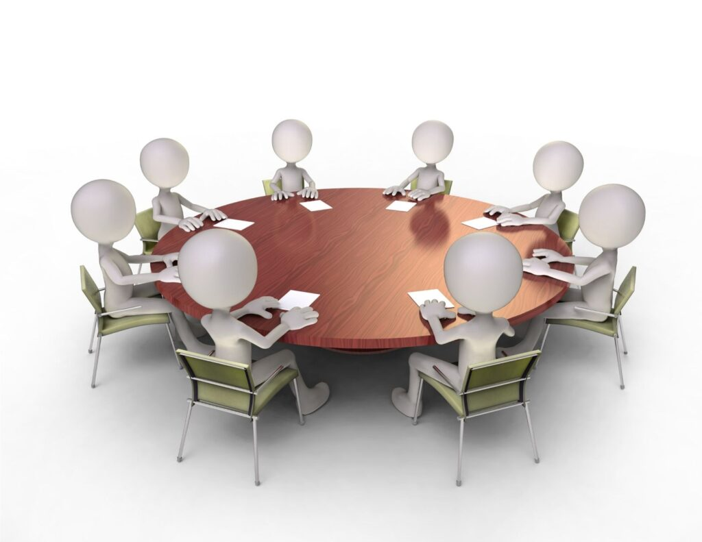 Virtual people at a round table