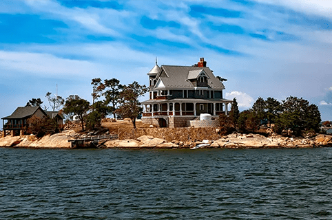 House on middle of island