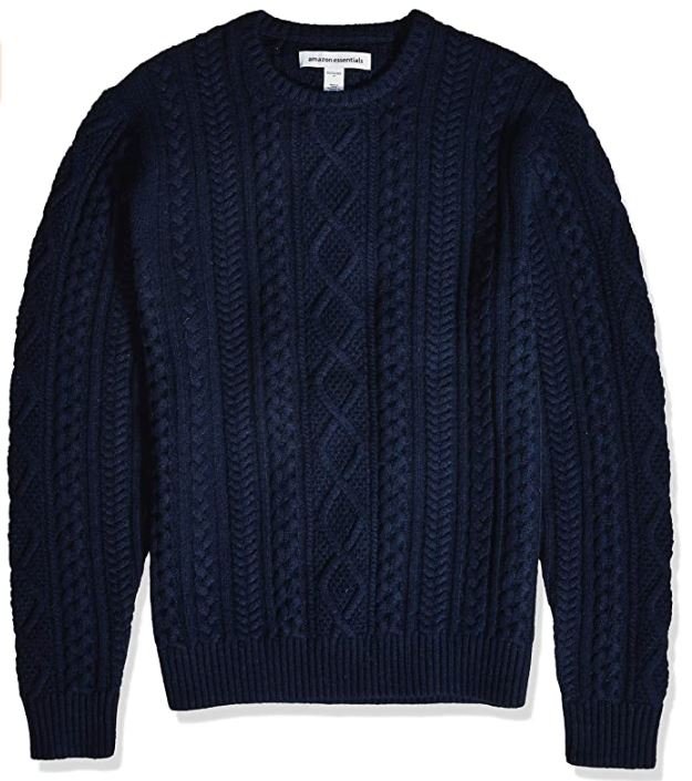 amazon basics navy cable knit sweater