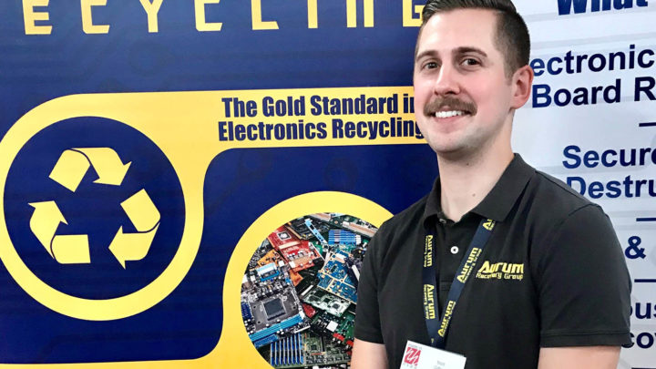 Matt Gifford is co-owner of the Goffstown electronics recycling company, Aurum Recovery Group. Photo by Stacy Milbouer.