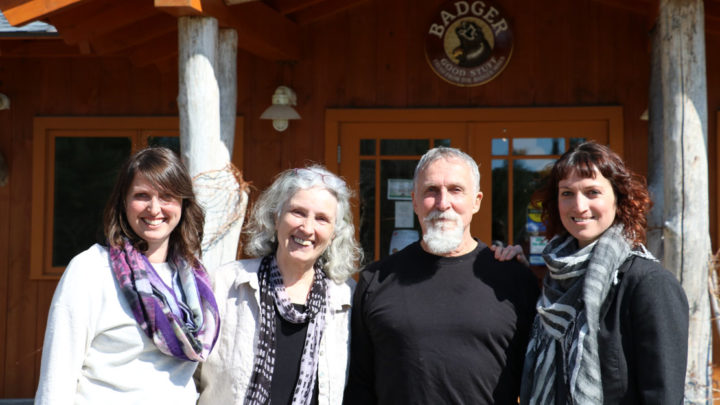 Bill Whyte, a carpenter who created a balm to soothe his winter-cracked hands, started Badger in 1995 with his wife, Karen Schwerin (second from left). Their daughters Emily Schwerin-Whyte (far left) and Rebecca Hamilton (far right) are now family owners and co-collaborative executive officers. Courtesy photos