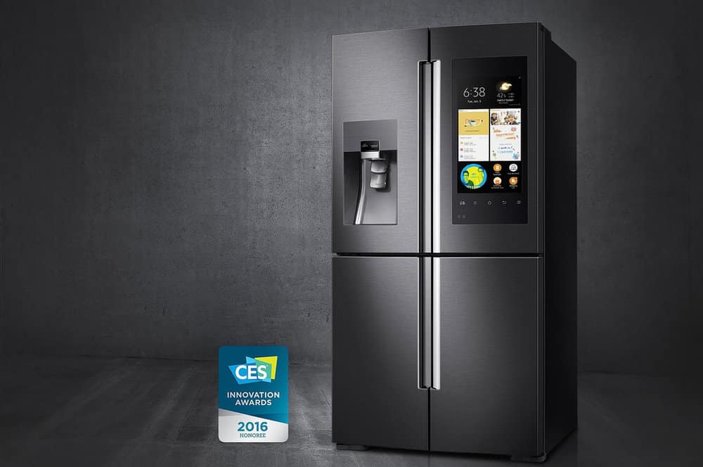 samsung smart refrigerator in matte black stainless steel