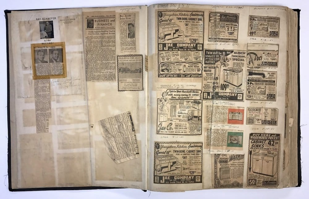 scrapbook of old jae company newspaper ads and pictures