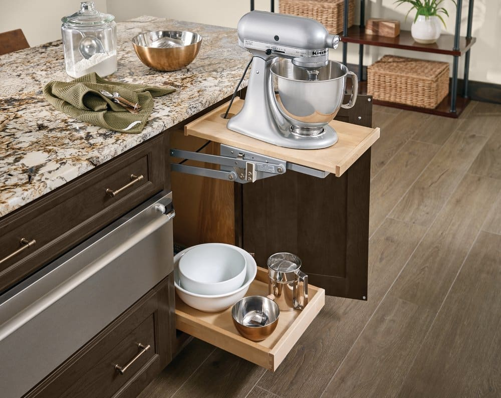 kraftmaid mixer stand mounted to cabinet and counter