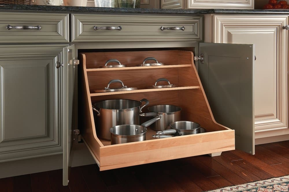 kraftmaid pull out pot and pan organizer in cabinet
