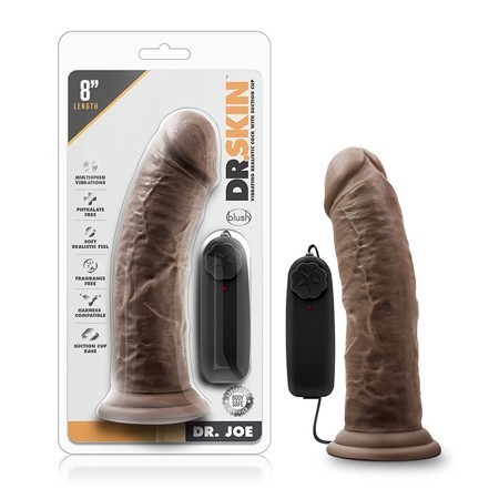 Dr. Skin – Dr. Joe – 8in Vibrating Cock with Suction Cup – Chocolate