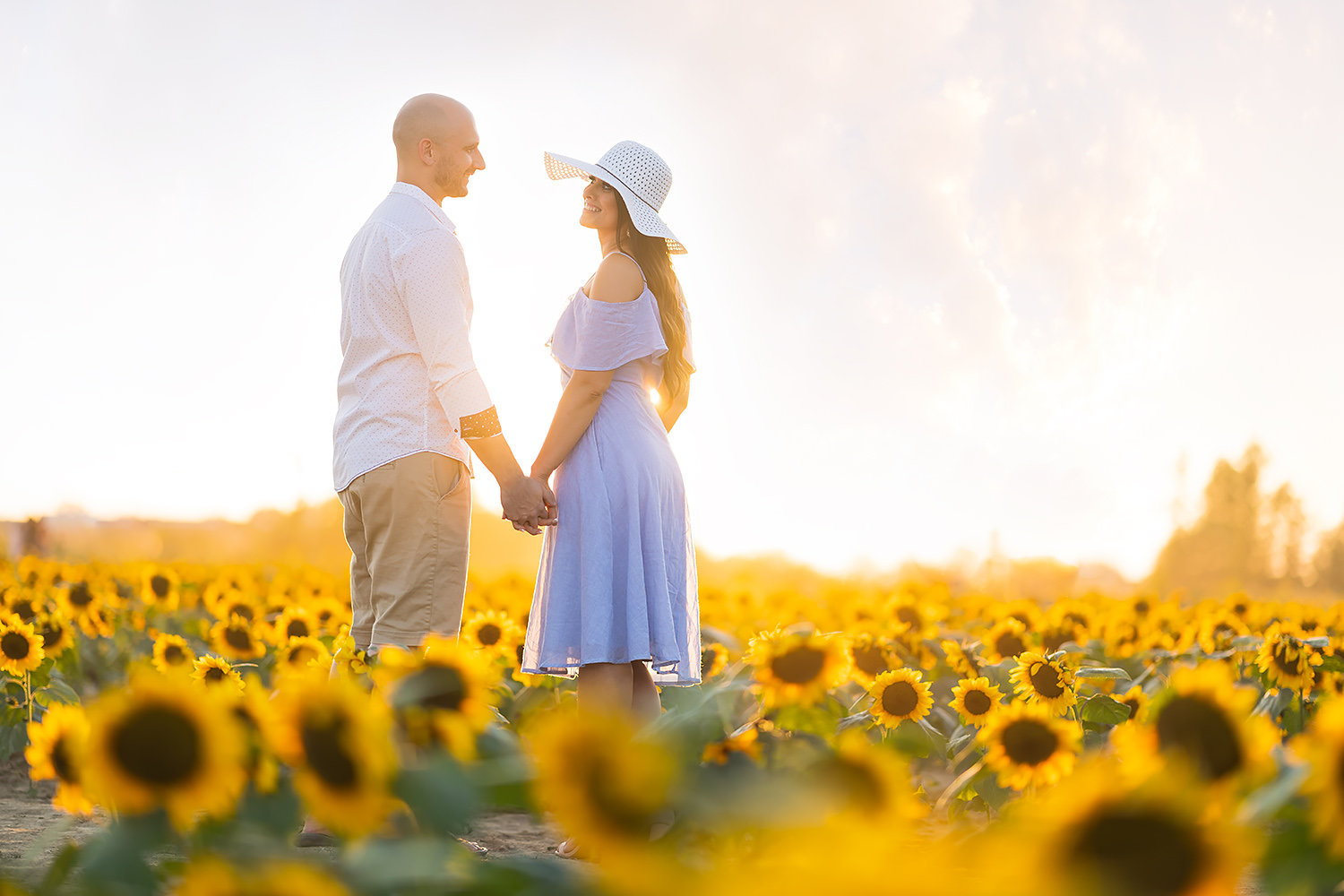 Sunflower Field Engagement Session in Avon, OH | Vanessa and Gene