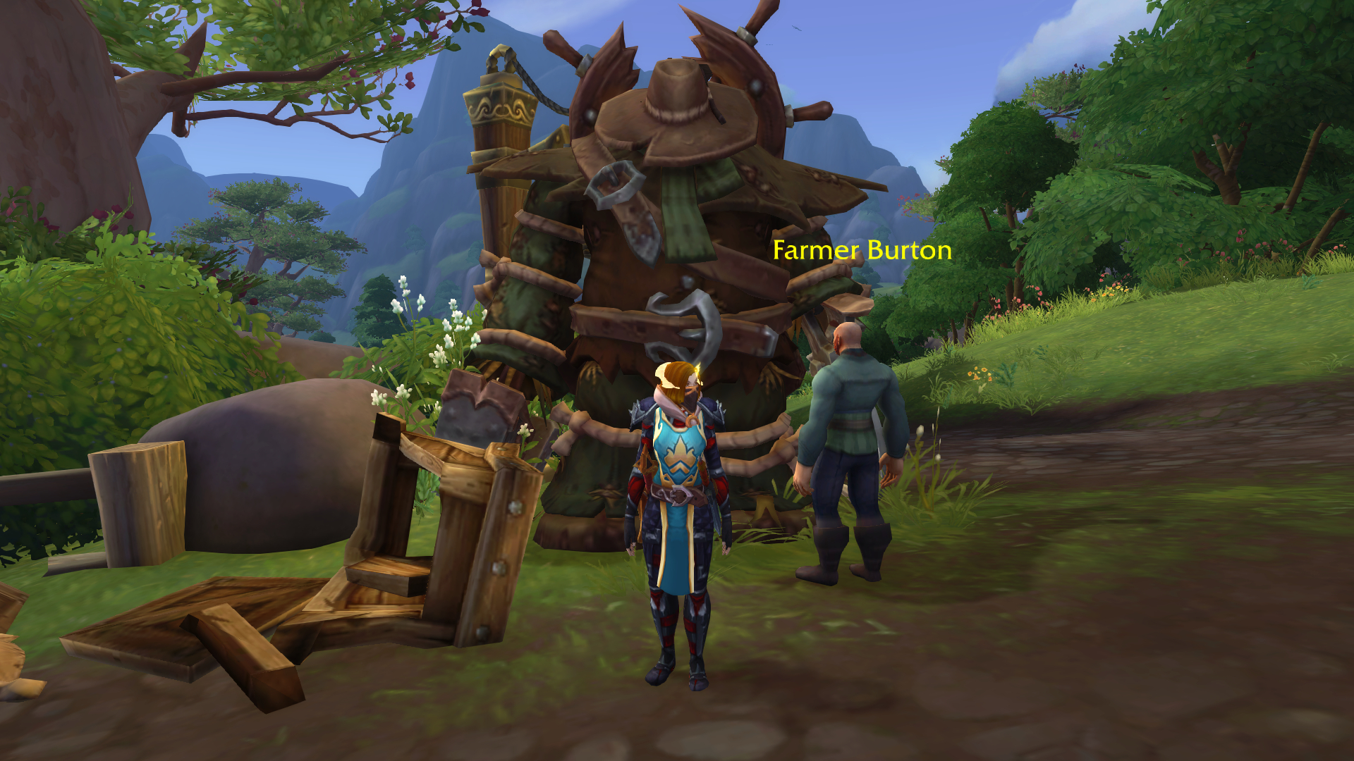 Rogue in armor standing by an NPC