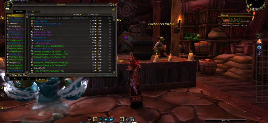 Auction House Window of Sells