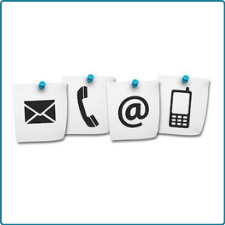 icon with various pictures of email, phone, envelope