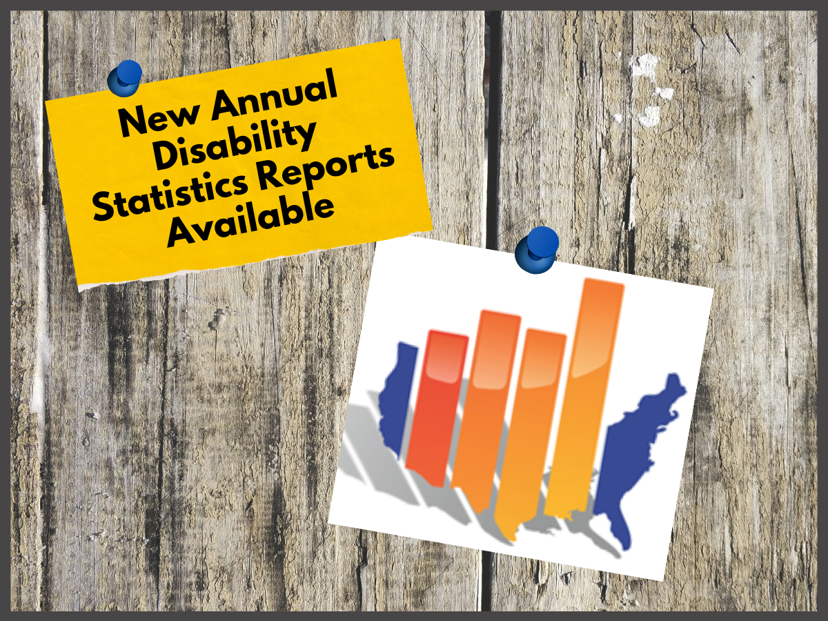 colorful bar graph icon with text: New Annual Disability Statistics Reports Available