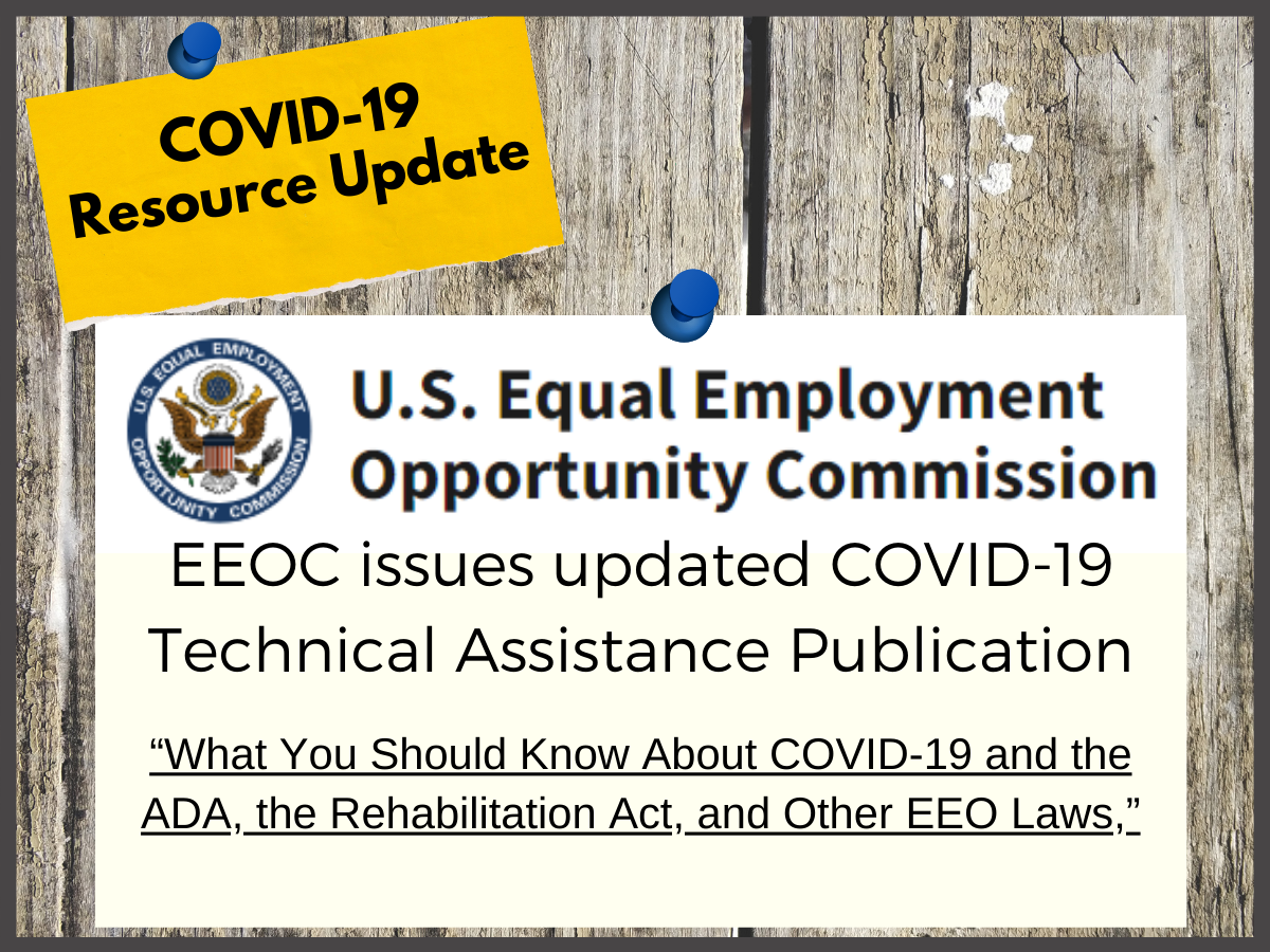 """closeup of weathered wood background with EEOC logo and text EEOC issues updated COVID-19 Technical Assistance Publication """"What you should know about Covid-19 and the ADA, the Rehabilitation Act and other EEO Laws"""""""
