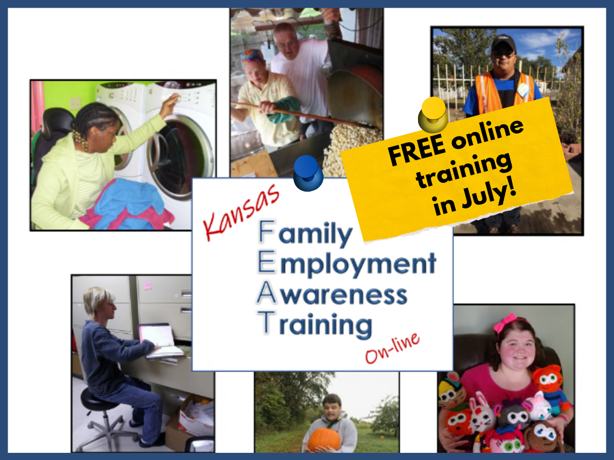 collage of young adults with disabilities in various work and activity settings