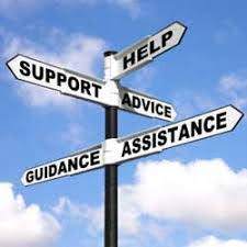 directional road sign with the words help, support, advice, guidance, assistance