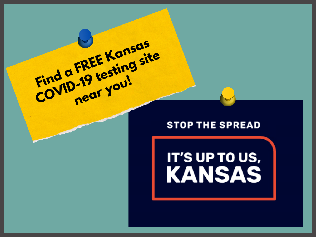 text: It's up to us Kansas, stop the spread; find a free Kansas covid-19 testing site near you