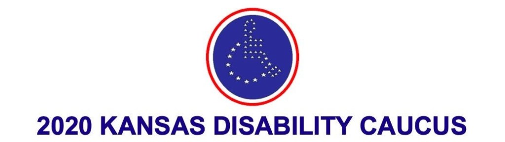 blue circle with red circle around it, white stars in the center forming an icon image of a person in a wheel chair. contains text: 2020 Kansas Disability Caucus