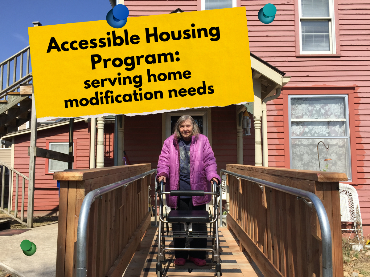 older female standing on her new accessible ramp and using a walker