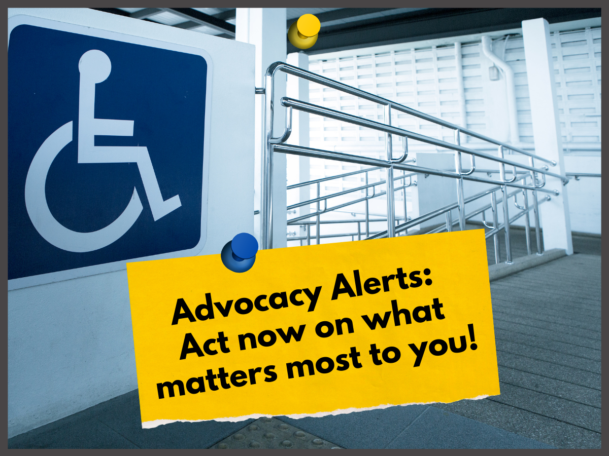 background image of interior building ramp and yellow sticky note with a red and white megaphone icon
