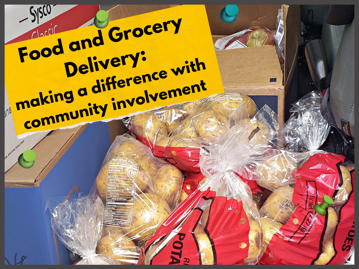 sacks of potatoes and other food resources boxed in the back of a delivery van with words food and grocery delivery