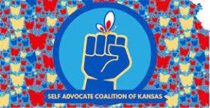 outline of state of Kansas with with red, yellow and blue butterfly icons filling the shape; blue fist with a butterfly on the fingers in a circle in the middle of the state