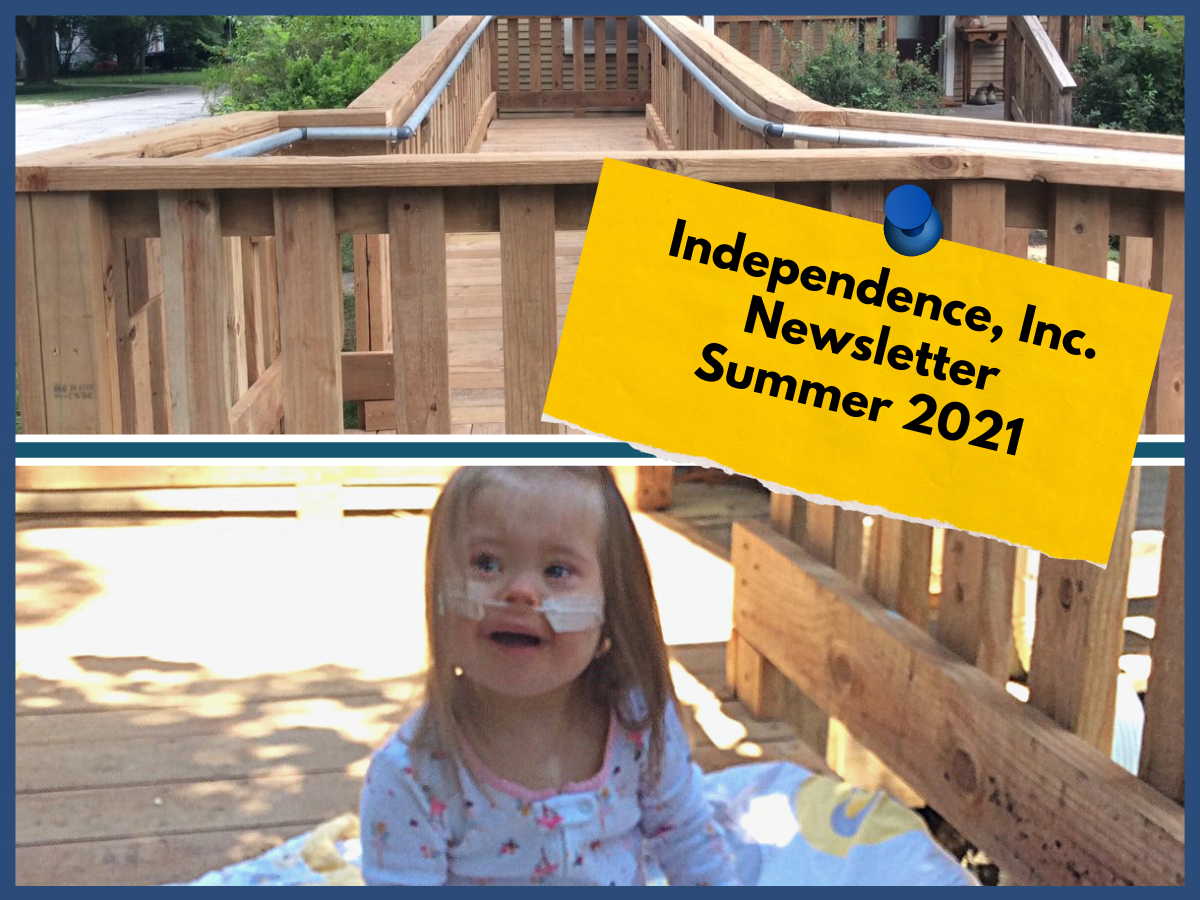 two images, one on top of an accessible wooden entry ramp to a home, the bottom image young light skinned girl with breathing tube sitting on blanket on the wooden ramp in the sunshine, smiling and looking to the side ofthe camera